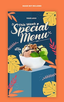 Modèle de bannière d'histoire instagram de médias sociaux de promotion de menu spécial de nourriture
