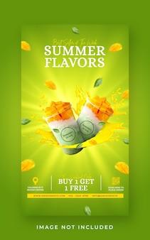 Modèle de bannière d'histoire instagram pour la promotion du menu des boissons d'été sur les médias sociaux