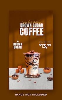 Modèle de bannière d'histoire instagram de promotion de menu de boisson de café-restaurant