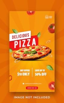 Modèle de bannière d'histoire de médias sociaux de promotion de menu de nourriture de pizza