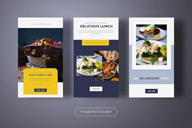 Modèle de bannière d'histoires instagram de délicieuse cuisine culinaire