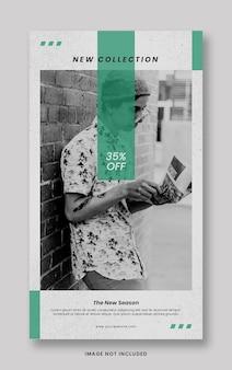 Modèle de bannière d'histoires instagram de médias sociaux de promotion de nouvelle collection verte minimale propre