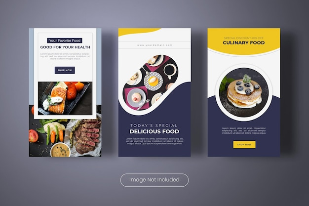 Modèle de bannière d'histoires instagram de nourriture fraîche et saine