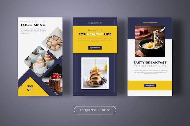 Modèle de bannière d'histoires instagram de nourriture saine
