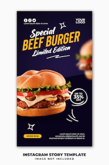 Modèle de bannière d'histoires instagram pour hamburger de menu de restauration rapide