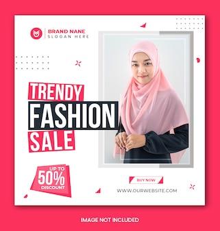 Modèle de bannière et d'histoires instagram de vente de mode sur les médias sociaux