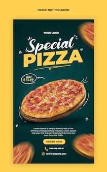 Modèle de bannière d'histoires de pizza instagram