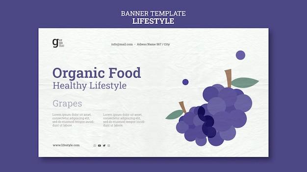 Modèle de bannière horizontale d'aliments biologiques