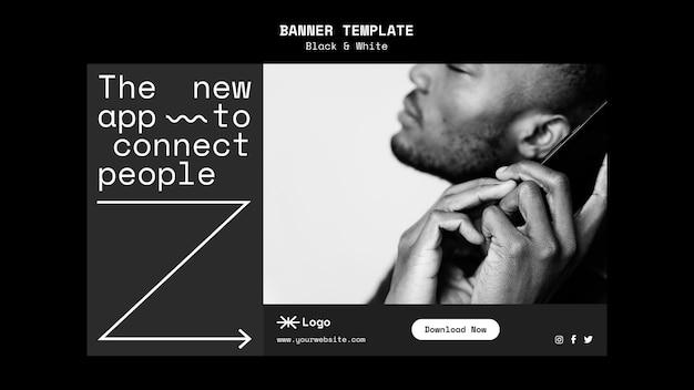 Modèle de bannière horizontale d'application de connexion de personnes