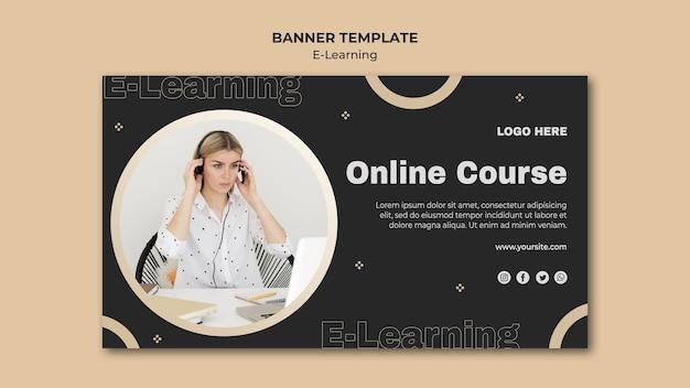 Modèle de bannière horizontale d'apprentissage en ligne