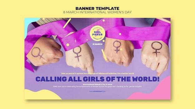 Modèle de bannière horizontale de belle journée des femmes avec photo