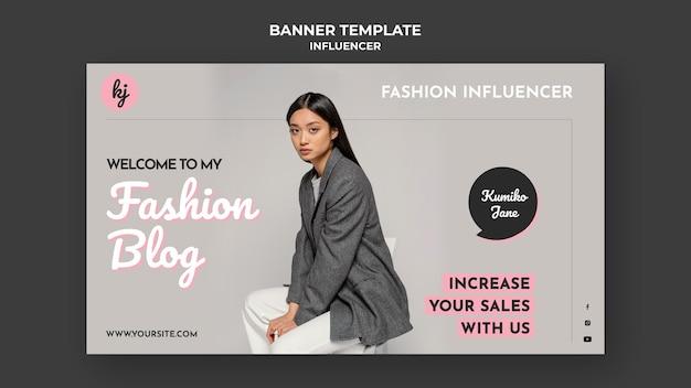 Modèle de bannière horizontale de blogueur de mode