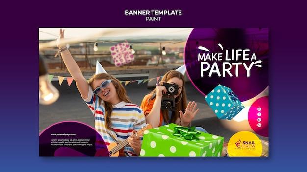 Modèle de bannière horizontale de célébration de fête