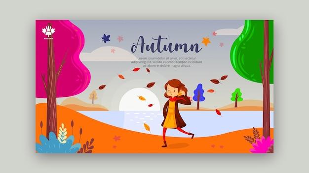 Modèle de bannière horizontale concept automne