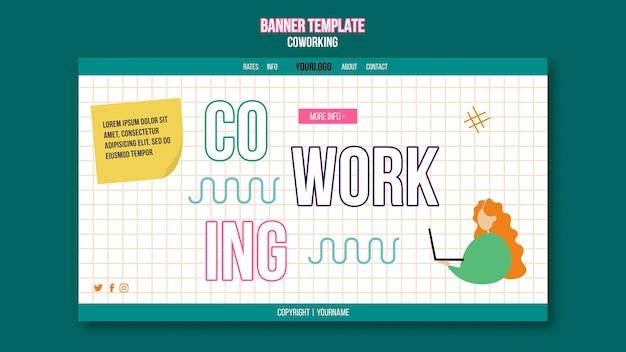 Modèle de bannière horizontale de concept de coworking