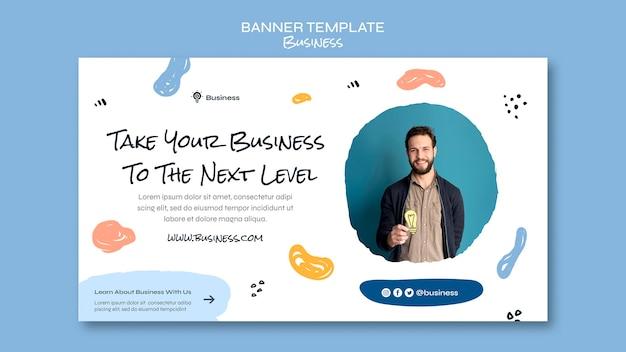 Modèle de bannière horizontale de concept d'entreprise