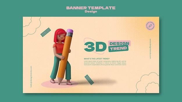 Modèle de bannière horizontale de conception 3d