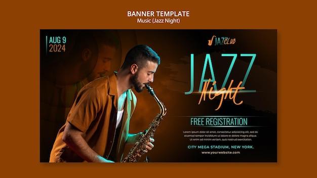 Modèle de bannière horizontale de concert de jazz