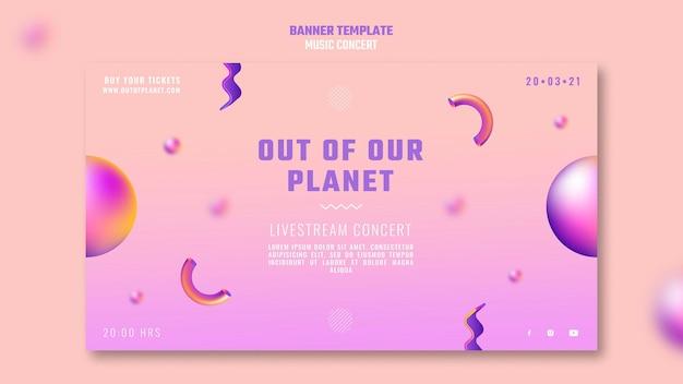 Modèle de bannière horizontale de concert de musique hors de notre planète