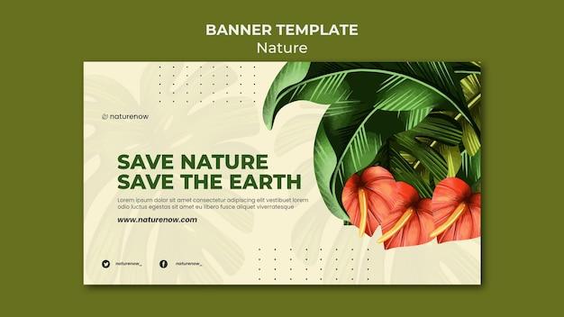 Modèle de bannière horizontale de conservation de la nature