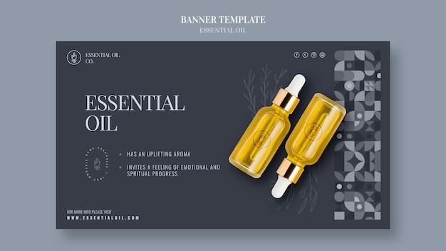 Modèle de bannière horizontale avec des cosmétiques aux huiles essentielles