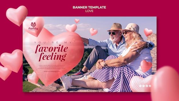 Modèle de bannière horizontale de couple de personnes âgées