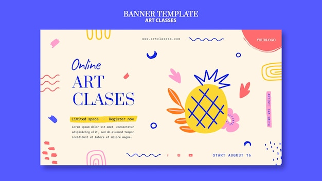 Modèle de bannière horizontale de cours d'art