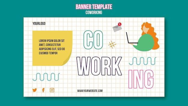 Modèle de bannière horizontale de coworking