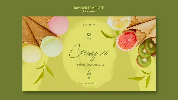 Modèle de bannière horizontale de crème glacée avec photo