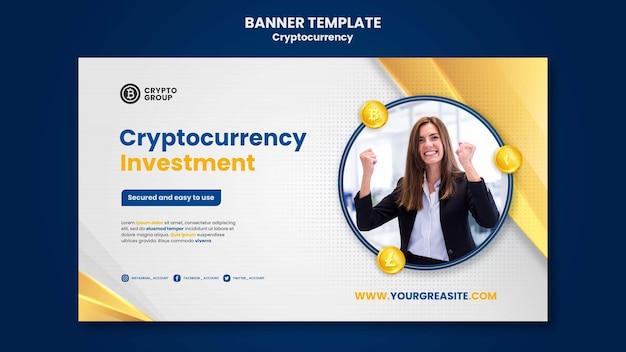 Modèle de bannière horizontale de crypto-monnaie