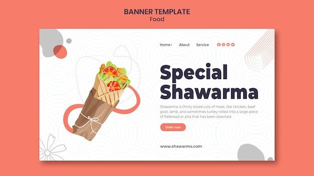 Modèle de bannière horizontale délicieux shawarma