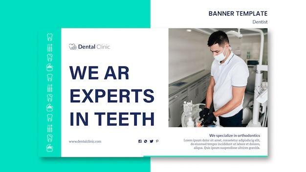 Modèle de bannière horizontale dentiste
