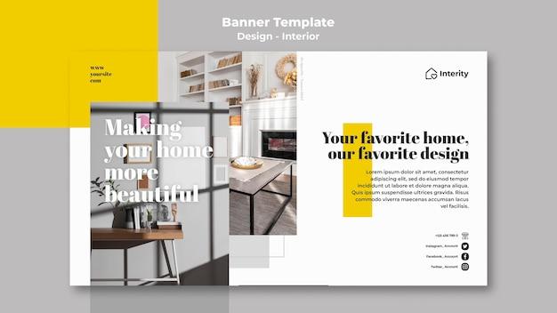 Modèle de bannière horizontale de design d'intérieur