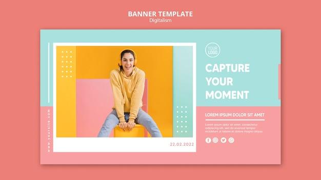 Modèle de bannière horizontale de digitalisme coloré avec photo