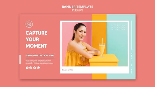 Modèle de bannière horizontale de digitalisme coloré