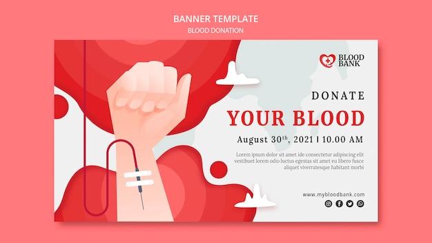 Modèle de bannière horizontale de don de sang