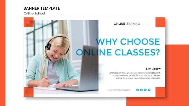 Modèle de bannière horizontale d'école en ligne