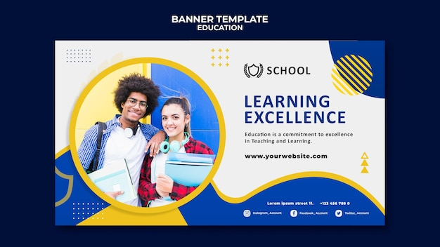 Modèle de bannière horizontale de l'éducation