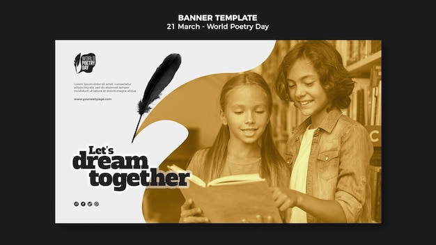 Modèle de bannière horizontale de l'événement de la journée mondiale de la poésie avec photo