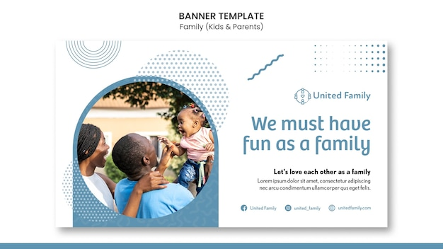 Modèle de bannière horizontale avec famille et enfants