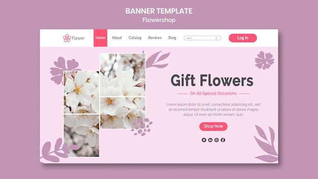 Modèle de bannière horizontale de fleurs de cadeau