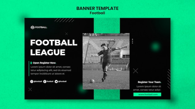 Modèle de bannière horizontale de football