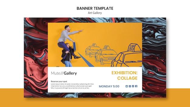 Modèle de bannière horizontale de galerie d'art