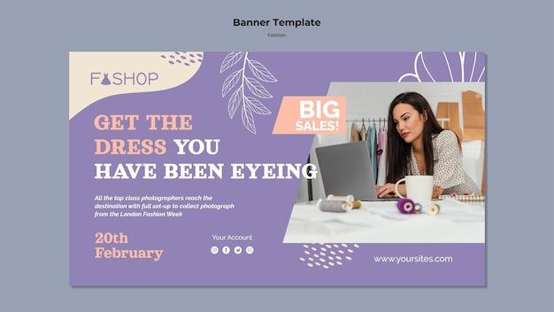 Modèle de bannière horizontale de grande vente de mode