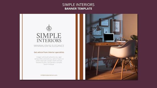 Modèle de bannière horizontale d'intérieurs simples