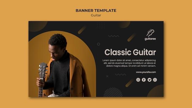 Modèle de bannière horizontale de joueur de guitare