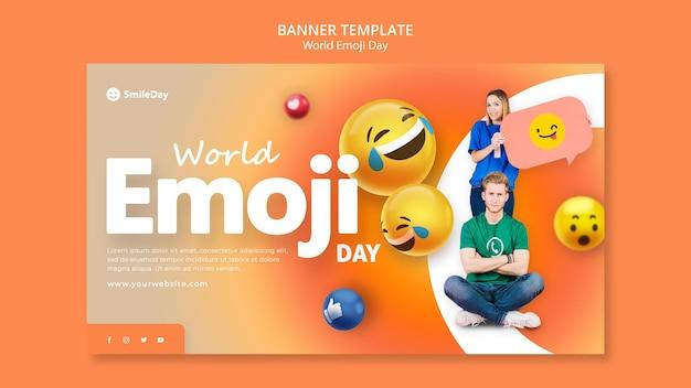 Modèle de bannière horizontale de jour emoji