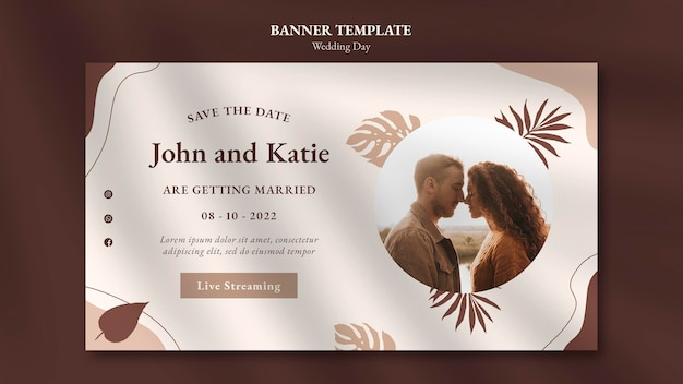 Modèle de bannière horizontale de jour de mariage