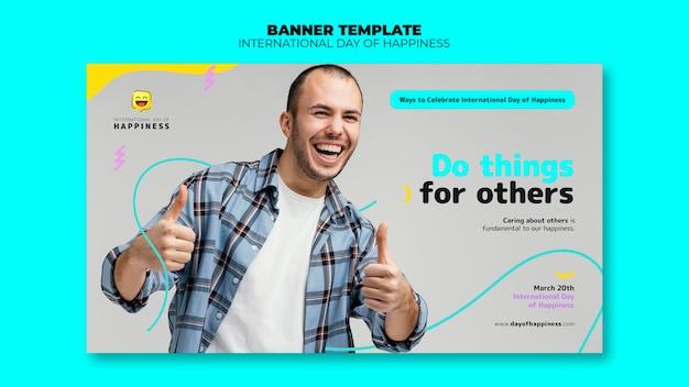 Modèle de bannière horizontale de la journée internationale du bonheur avec photo