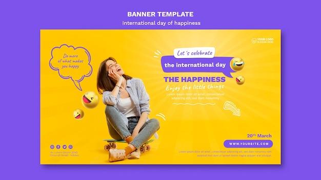 Modèle de bannière horizontale de la journée internationale du bonheur